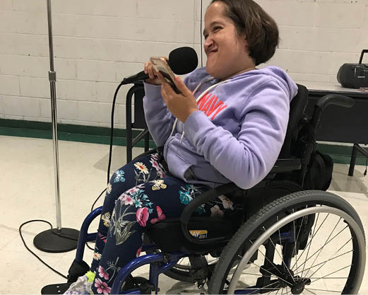 Woman in Wheelchair Singing